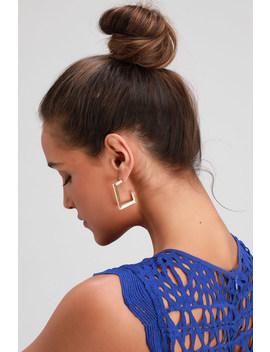 Boxy Gold Hoop Earrings by Lulus X Luvaj