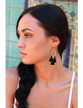 Mailie Black And Gold Tassel Earrings by Lulus