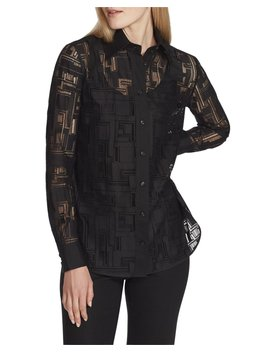 James Italian Linear Lace Button Down Blouse by Lafayette 148 New York