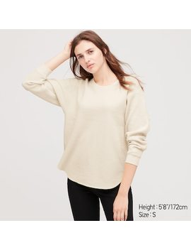 Women Waffle Oversized Crew Neck Long Sleeve T Shirt by Uniqlo