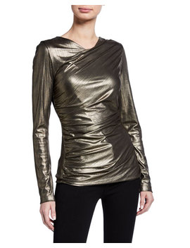 Sadira Metallic Long Sleeve Ruched Knit Top by Elie Tahari