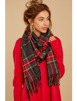 My Favorite Tradition Charcoal Plaid Scarf by Look By M