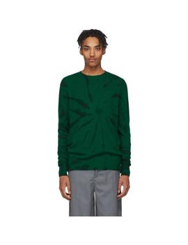 Green & Black Cashmere Tie Dye Sweater by The Elder Statesman