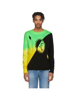 Green & Yellow Cashmere Intarsia Sun Sweater by The Elder Statesman