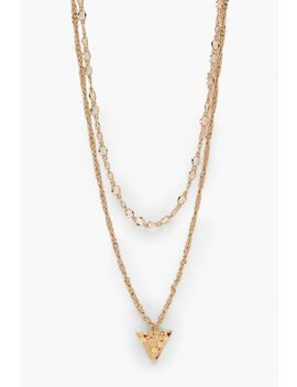 Triangle Double Chain Necklace by Boohoo