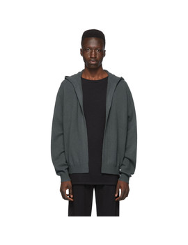 Grey Cashmere Open Front Hoodie by Frenckenberger