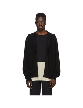 Black Cashmere Open Front Hoodie by Frenckenberger