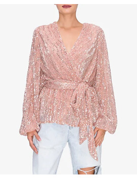 Endless Rose Sequin Wrap Tie Blouse by Express