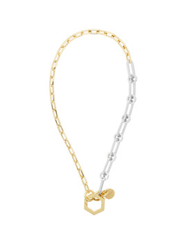 Gold & Silver Short Hexagonal Hook & Chains Necklace by Givenchy