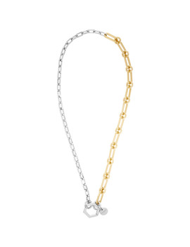 Gold & Silver Hexagon Hook Chain Necklace by Givenchy