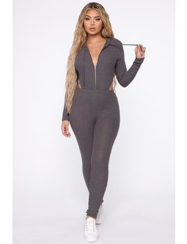 Wake Up And Make Up Pant Set   Charcoal by Fashion Nova