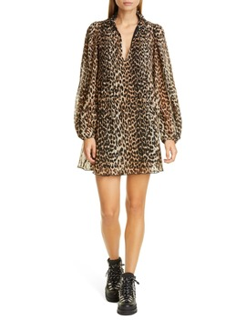 Leopard Print Pleated Georgette Long Sleeve Minidress by Ganni