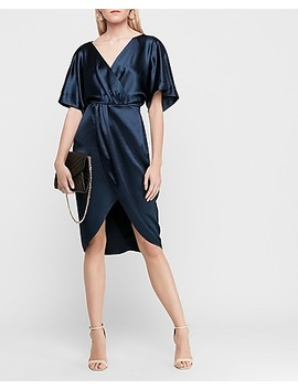 Textured Satin Kimono Sleeve Midi Dress by Express