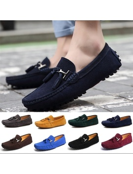 Fashion Mens Shoes Casual Fashion Peas Shoes Suede Leather Men Loafers Moccasins Slip On Mens Flats Male Driving Shoes De Moda De Los Holgazanes De Conducción De Lujo Hombres De Plus Size Lazy Shoes by Wish