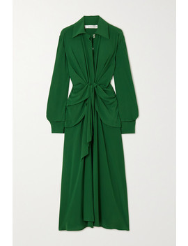 Knotted Silk Crepe De Chine Midi Dress by Victoria Beckham