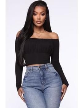 Off The Rails Off Shoulder Top   Black by Fashion Nova