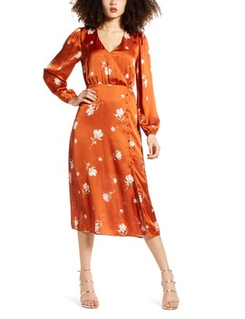 Long Sleeve Floral Print Satin Midi Dress by All In Favor