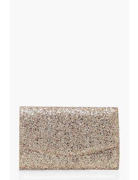 Chunky Glitter Envelope Clutch Bag & Chain by Boohoo