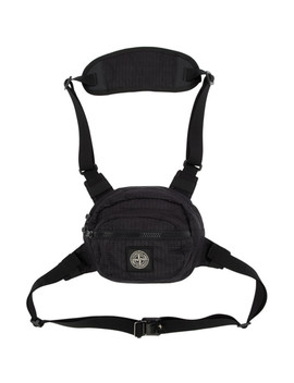 Black Reflective Weave Ripstop Bum Bag by Stone Island