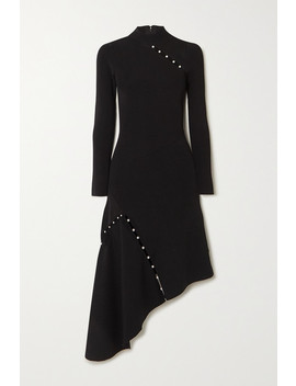 Kam Asymmetric Faux Pearl Embellished Stretch Cady Dress by Alice + Olivia