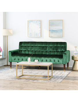Adan Tufted Velvet Sofa With Gold Tipped Tapered Legs, Emerald And Gold Finish by Gdf Studio
