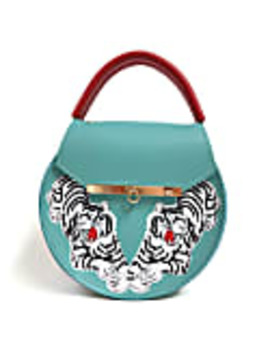 Loel Tiger Embroidered Top Handle Bag by Angela Valentine Handbags