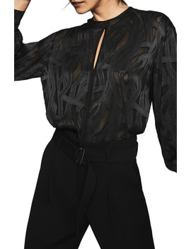 Sirri Coupe Jacquard Blouse by Reiss