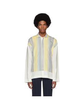 White & Yellow Stripe Press Shirt by Homme PlissÉ Issey Miyake