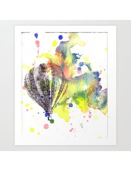 Hot Air Balloon Rising In Color Art Print by Society6