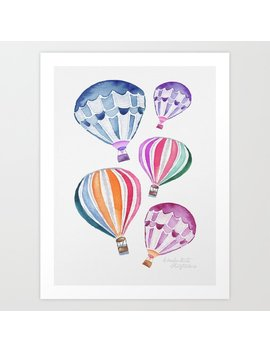 Colorful Kids Hot Air Balloon Pattern Art Print by Society6