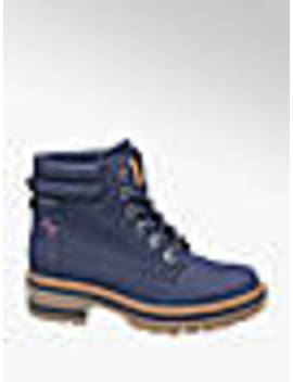 Navy Chunky Lace Up Ankle Boots by Bench