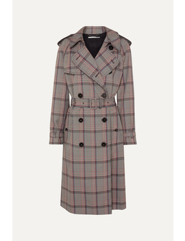 Pleated Prince Of Wales Checked Belted Woven Trench Coat by Stella Mc Cartney