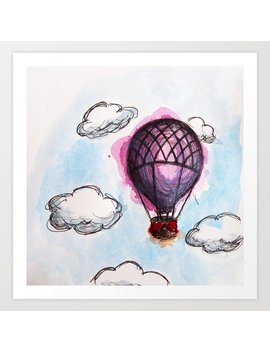 Purple Hot Air Balloon Art Print by Society6
