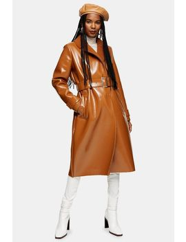 Brown Bonded Borg Coat by Topshop