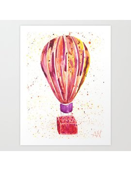 Hot Balloon Air Watercolor Painting Art Print by Society6