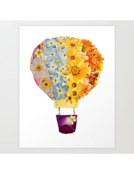 Pressed Flower Art Hot Air Balloon Art Print by Society6