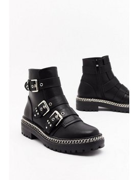 Third Time Lucky Faux Leather Buckle Boots by Nasty Gal