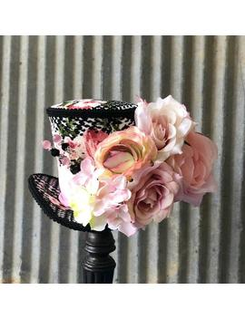 Kentucky Derby Hat, Mini Top Hat, Black And White Herringbone Mini Hat, Blush Flower, Alice In Wonderland Mini Top Hat,Mad Hatter by Etsy