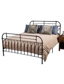 Cromwell Bed Metal King Charcoal   Christopher Knight Home by Christopher Knight Home