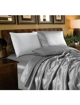 Chezmoi Collection 4 Piece Solid Silver Bridal Satin Sheet Set by Chezmoi Collection