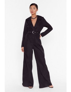 Put In A Little Work Belted Wide Leg Jumpsuit by Nasty Gal