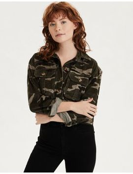 Ae Camo Corduroy Cropped Button Up Shirt by American Eagle Outfitters