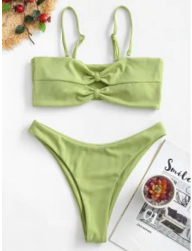 Popular Salezaful Ribbed Knot High Cut Bikini Swimsuit   Pistachio Green S by Zaful