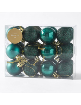 Heritage 24 Pack Baubles   Green by Target