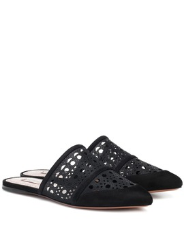 Laser Cut Mesh And Suede Slippers by Alaïa