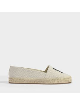 Tabitha Embroidered Espadrilles In Off White And Black Cotton by Burberry