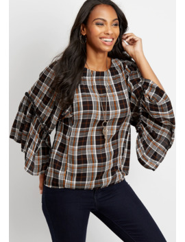 Plaid Kimono Sleeve Blouse by Maurices