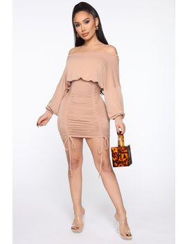 Keep It Ruched Mini Dress   Taupe by Fashion Nova