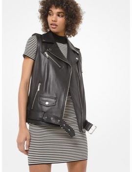 Leather Moto Vest by Michael Michael Kors