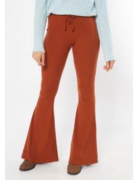 Cognac Ribbed Knit Drawstring Flare Pants by Rue21